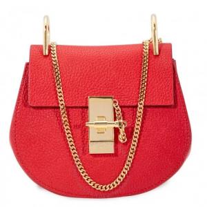 CHLOE Mini Drew Shoulder Bag- Plaid Red