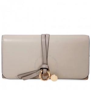 CHLOE Alphabet Long Zipped Wallet- Pastel Grey