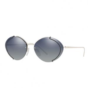 Prada Semi-Rimless Mirrored Oval Sunglasses