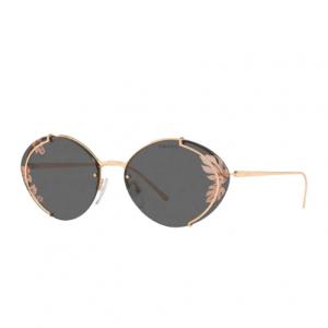 Prada Semi-Rimless Oval Leaf Printed Sunglasses