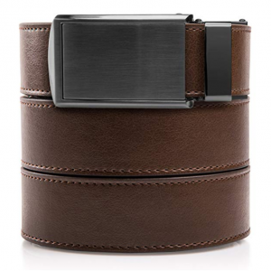 Slidebelts Men's Animal-Friendly Leather Belt without Holes - Gunmetal Buckle/Mocha Brown Leather
