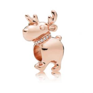Happy Reindeer Charm, Clear CZ