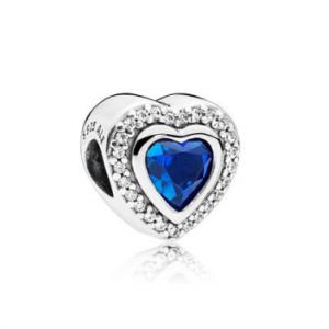 Sparkling Love Charm, Clear CZ & Blue Crystal