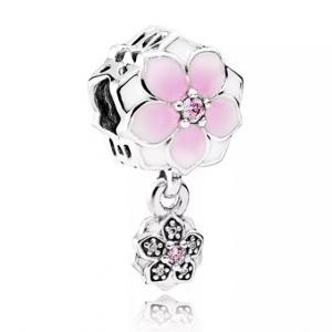 PANDORA Sterling Silver & Enamel Magnolia Bloom Drop Charm