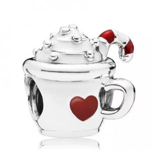 PANDORA Sterling Silver & Enamel Cocoa Mug Charm