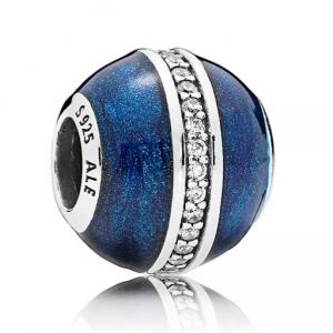 PANDORA Enamel, Cubic Zirconia & Sterling Silver Orbit Midnight Blue Charm
