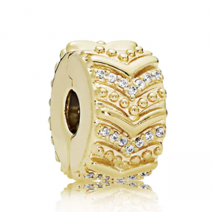 PANDORA Gold Tone-Plated Sterling Silver & Cubic Zirconia Stylish Wish Clip