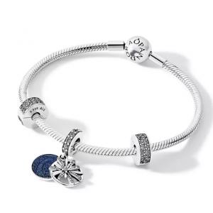 PANDORA Sterling Silver & Cubic Zirconia Dazzling Wishes Bracelet, Drop Charm & Clips Gift Set