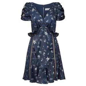 SELF-PORTRAIT Printed Satin Mini Dress