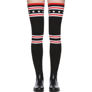 Givenchy Black Over-the-Knee Sock Rain Boots 182278F115001 @ SSENSE