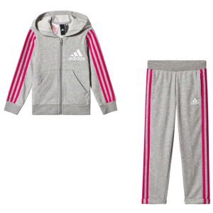 adidas Performance Grey and Pink Hoodie and Bottoms Set