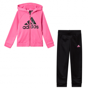 adidas Performance Pink and Black Logo Hoodie and Bottoms Set