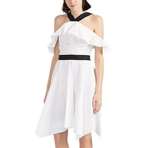 DEREK LAM 10 CROSBY Cotton Poplin Off-The-Shoulder Midi-Dress