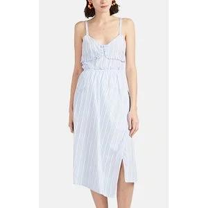 DEREK LAM 10 CROSBY Bouclé-Striped Cotton Poplin Tank Dress
