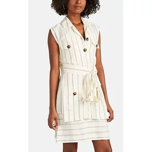 DEREK LAM 10 CROSBY Striped Silky Twill Utility Dress