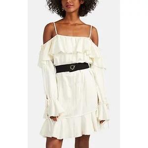 DEREK LAM 10 CROSBY Ruffled Belted Off-The-Shoulder Minidress