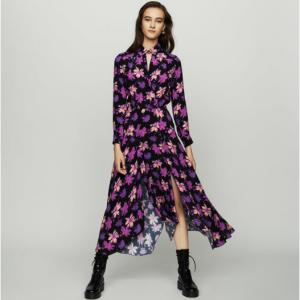 Long asymmetric dress in floral print