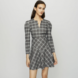 Wool blend plaid dress