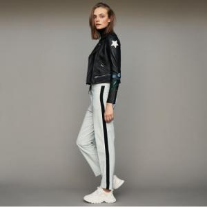 Elastic waist pants with side stripes