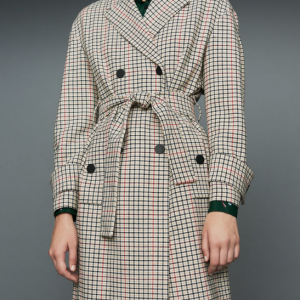 Straight plaid coat