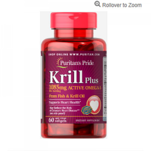 Puritan's Pride Krill Oil Plus High Omega-3 Concentrate 1085 mg