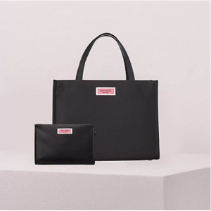sam nylon satchel and cosmetic bag bundle in black