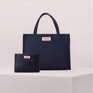 sam nylon satchel and cosmetic bag bundle in rich navy