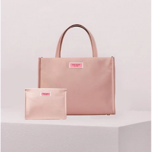 sam nylon satchel and cosmetic bag bundle in madison rouge