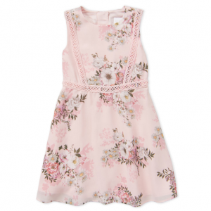 BCBGIRLS  (Girls 4-6x) Floral Embroidered Trim Dress