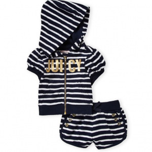 JUICY COUTURE  (Infant Girls) Navy French Terry Striped Hoodie & Shorts Set