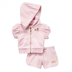JUICY COUTURE  (Infant Girls) Pink Two-Piece French Terry Hoodie & Shorts Set