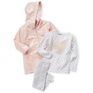 DKNY  (Toddler Girls) 3-Piece Heart Raincoat & Leggings Set
