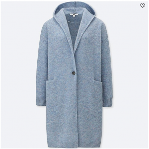 WOMEN WOOL HOODED KNITTED COAT