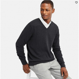 MEN SUPIMA® COTTON V-NECK LONG-SLEEVE SWEATER