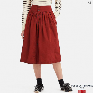 WOMEN COTTON GATHERED SKIRT (INES DE LA FRESSANGE)