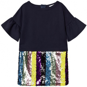 Little Marc Jacobs Navy Dress with Multicolour Stripe Sequin Skirt Little Marc Jacobs Navy Dress
