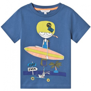 Little Marc Jacobs Blue Mr Marc with Skate and Surf Board Print T-Shirt