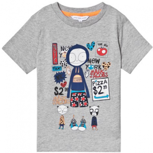 Little Marc Jacobs Grey Mr Marc in NYC Print T-Shirt
