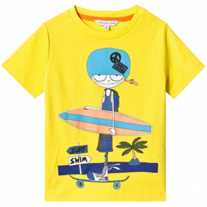Little Marc Jacobs Yellow Mr Marc with Skate and Surf Board Print T-Shirt