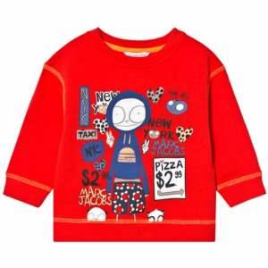 Little Marc Jacobs Red Mr Marc in NYC Print Sweatshirt