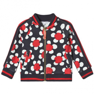 Little Marc Jacobs Navy and Red Daisy Print What Bomber Jacket