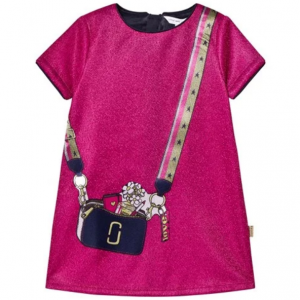 Little Marc Jacobs Fuchsia Lurex Bag Print Jersey Dress