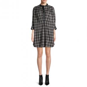 Marc Jacobs Long-Sleeve Button-Down Plaid Cotton Dress