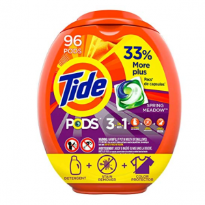 Prime Members, Tide Pods Liquid Laundry Detergent Pacs Spring Meadow, 96 Count @Amazon