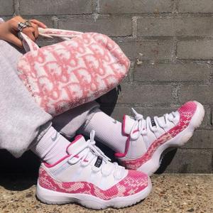 Women's Air Jordan XI Low White/Pink @ Nike