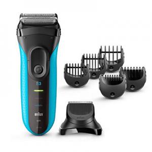 Braun Series 3 3010BT Men's Beard Trimmer/Hair Clipper, Razor, Foil Shaver, Blue & Black @ Amazon