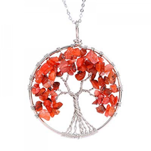 One Day Only!Luvalti Tree of Life - Gemstone Chakra Jewelry Red Orange Silver Chain Necklace now 70.