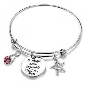 80.0% off Luvalti Inspirational Gifts Women Bracelet Bangle Stainless Steel Engraved Adjustable Bang
