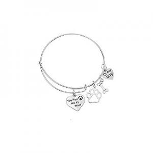 80.0% off Luvalti Dog Charm Bracelet - Paw Print Jewelry- Dog Lovers Bracelet- Dog Owner Bangle for