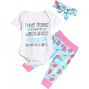 One Day Only!40.0% off Fancidy Newborn Baby Girl Father's Day Letter Printed Short Sleeve Romper Inf